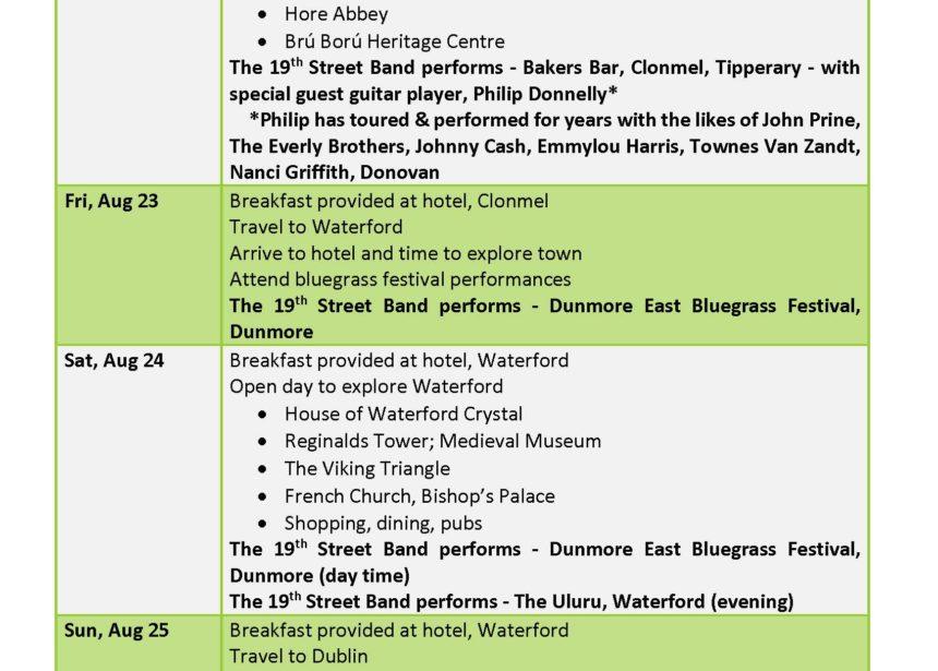 2019 Ireland Tour Itinerary – Page 2